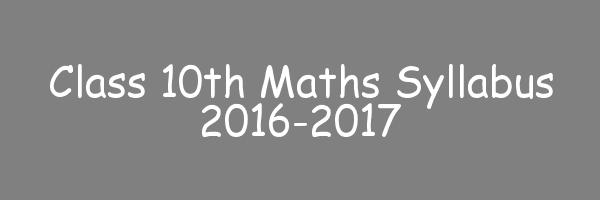 Mathematics Class 10 Syllabus