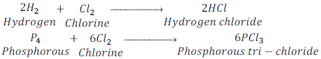 reaction of hydrogen and phosphorous with chlorine