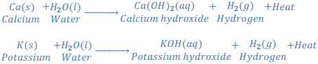 Reaction of Calcium and Potassium with water
