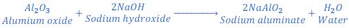 Reaction between aluminium oxide and sodium hydroxide